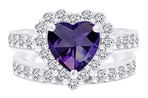 AFFY Heart Cut Simulated Alexandrite & White Cubic Zirconia Heart Wedding Ring Set in 925 Sterling Silver Ring Size-9.5 ()