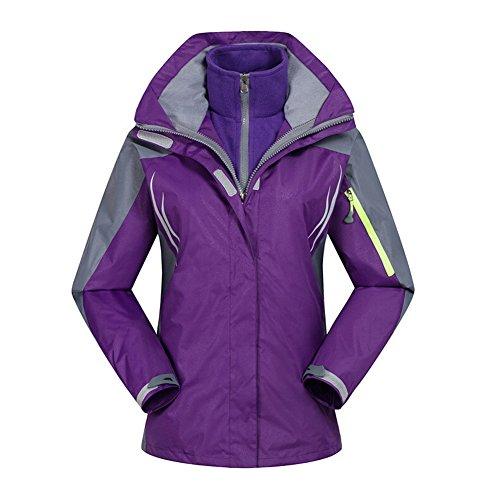 SODIAL(R) Female Snowboard Jacket Windbreaker 2-Layer hiking Outerwear Waterproof Ski Suit Sport Coat Clothes Jackets Purple/M