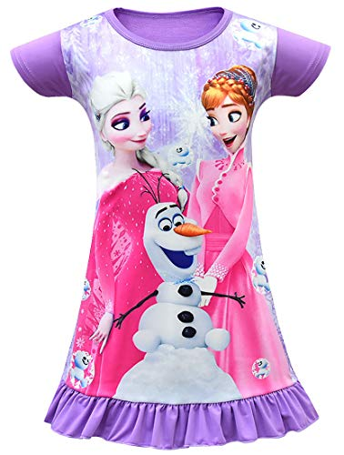 WNQY Little Girls Princess Anna and Elsa Pajamas Toddler Nightgown Dress (130/5-6Y, Purple) -