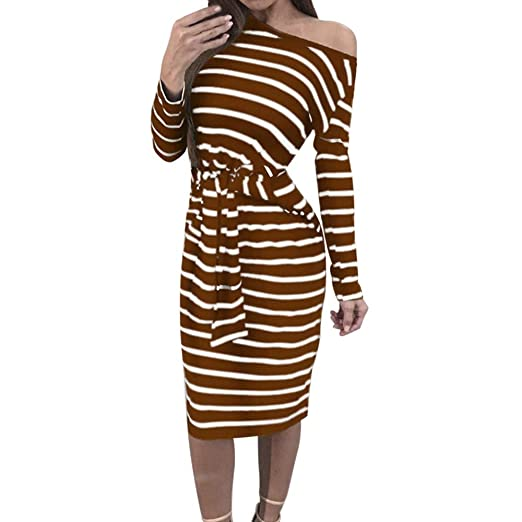 Clearance Women Dresses Sexy Stripe Cocktail Party Evening Bandage DressBeach Sundress for Winter