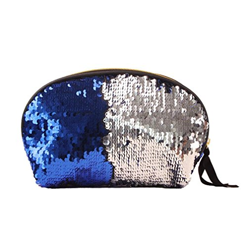 Color Bag Double Bag Cluthes for Zipper Women Lavany Sequins Handbag Women Wallet Blue wqzgnZOIt