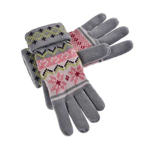 YAN & LEI Women's Snowflakes and Cats Knitted Winter Gloves with Roll Up Cuffs Design Color Grey