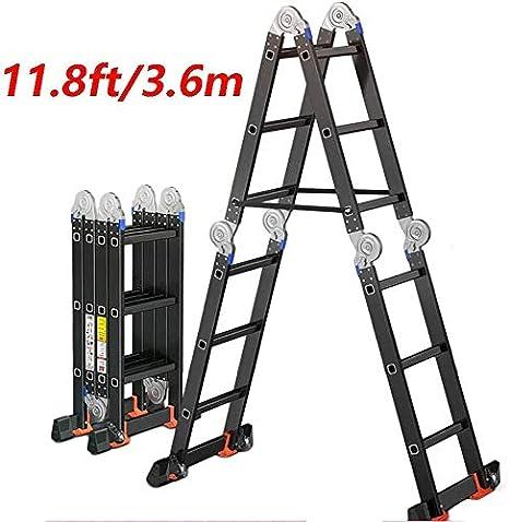 WYZXR Ex-Large Heavy Duty Aluminio Extensión Plegable Escalera Escaleras de andamio, Multiuso estándar, 11.8ft / 15.6ft / 19ft, Capacidad máxima de 330 LB (Tamaño: 15.6ft (4.75M)): Amazon.es: Hogar