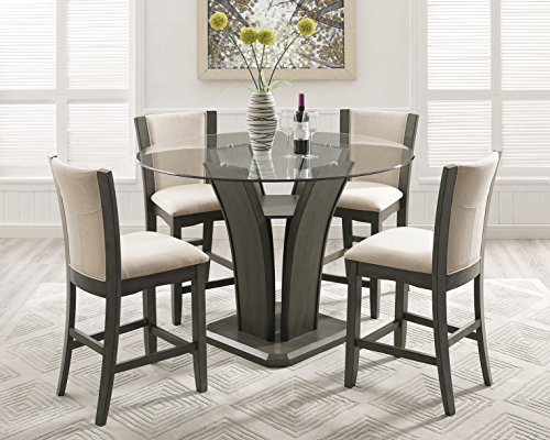 Roundhill Furniture P051GY Kecco Gray 5-Piece Round Glass Top Counter Height Dining Set (Height Table Round Top Counter Glass)