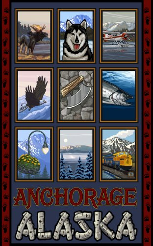 Northwest Art Mall Anchorage Alaska Collage Artwork by Paul A Lanquist, 11-Inch by - Mall Alaska Anchorage
