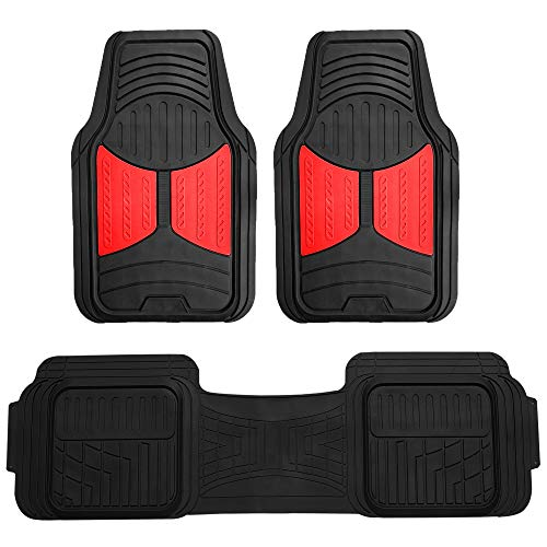 FH Group F11513 Car Floor Mats (3 pcs) Heavy Duty Rubber Floor Mats All-Weather Full Set Mats w, Universally Designed to fit All Trucks, Cars, SUVs, and Other Automobiles- Red/Black Color