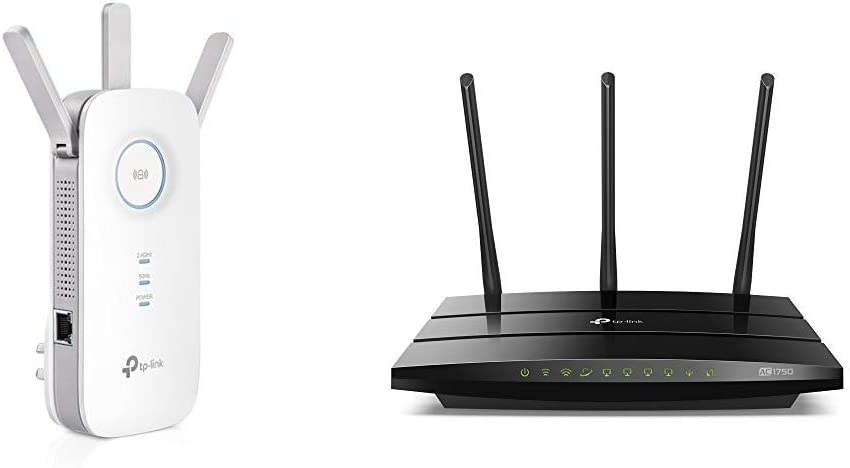 TP-Link PCMag Editor's Choice - AC1750 WiFi Range Extender - Extend WiFi Signal (RE450) & AC1750 Smart WiFi Router - Dual Band Gigabit Wireless Internet Router for Home, Works with Alexa (Archer A7)