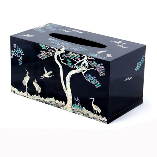 Mother of Pearl Inlay Crane Pine Tree Design Black Handmade Lacquer Wooden Rectangular Decorative Kleenex Boutique Facial Tissue Box Cover Dispenser Holder