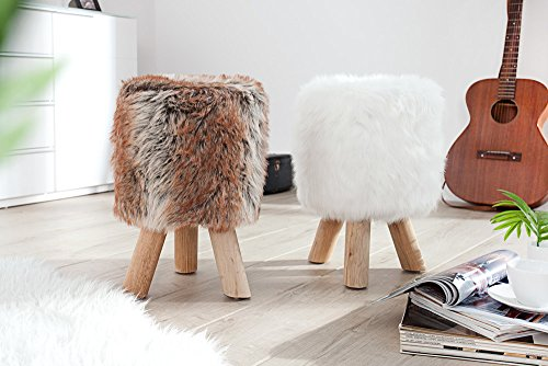 Invicta interior sgabello in pelliccia sintetica colore: bianco