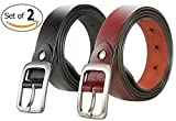 VIVOCH, Set of 2 Women's Genuine Cowhide Leather Belt Vintage Casual Belts for Jeans, Skirt, Shorts Pants, Summer Dress for Women with Alloy Pin Buckle, W02110