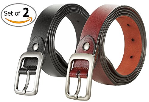 Jeans Leather Ladies (VIVOCH, Set of 2 Women's Genuine Cowhide Leather Belt Vintage Casual Belts for Jeans, Skirt, Shorts Pants, Summer Dress for Women with Alloy Pin Buckle, W02110)