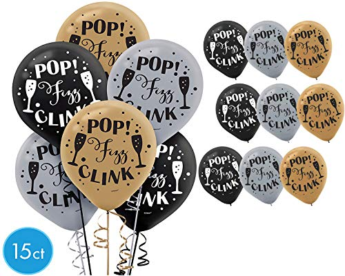 Black Gold & Silver Pop Fizz Clink Balloons Happy Year Party Decoration ~ 15]()