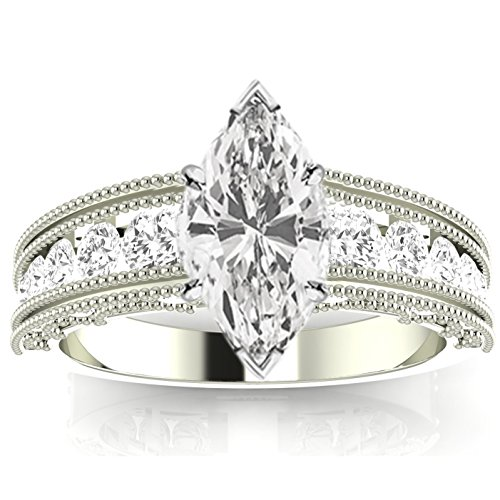 (2.1 Carat t.w. 14K White Gold Antique/Vintage Style Channel Set Round Diamond Engagement Ring with Milgrain with a 1.5 Ct Forever Classic Marquise Moissanite Center)