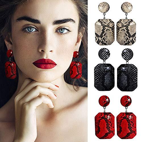 3 Pairs Faux Leather Snakeskin Statement Earrings Big Geometric Drop Dangle Earrings for ()