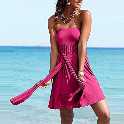Tinksky Rückenfreies Neckholder Strandkleid Strandrock - Größe S