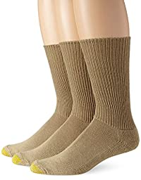 Gold Toe Men\'s Cushion Foot Fluffies Sock - 10-13 / Shoe: 6-12.5 - British Khaki, 3-Pack