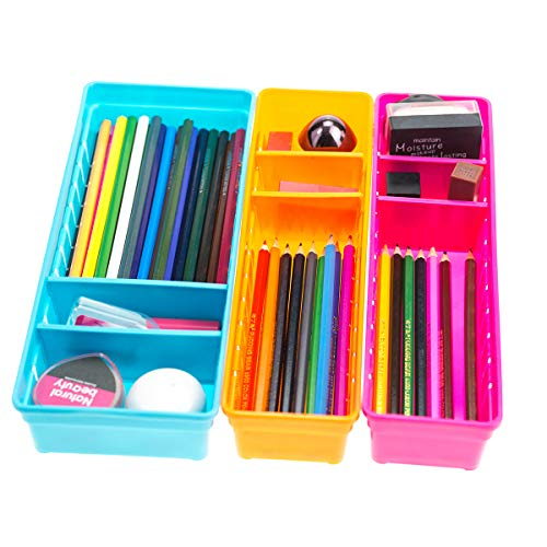 (Chris.W Colorful Creative Plastic Drawers Organizers with Removable Dividers, Storage Box Holder for Stationery/Makeup/Cutlery/Everything, Set of 3)
