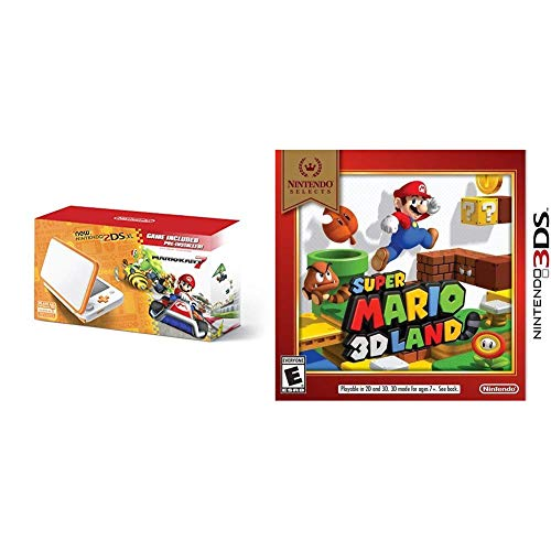 New 2DS XL Mario Kart 7 Bundle - White/Orange + Nintendo Selects: Super Mario 3D Land - 3DS [Digital Code]