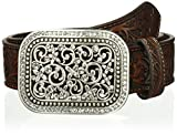 Ariat Women's Scroll Embossed Buckle Belt, Brown, Small