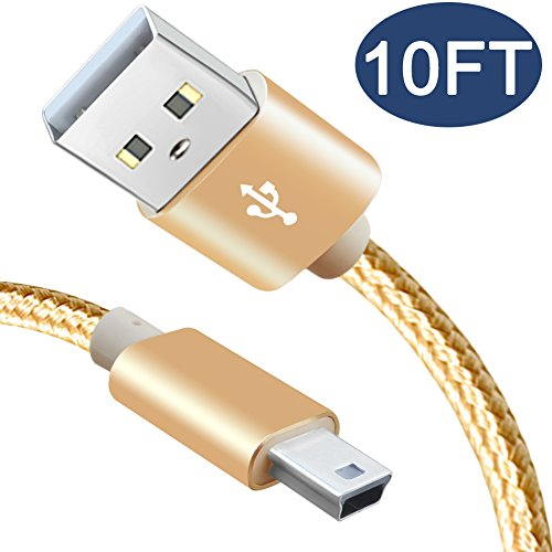 Mini USB Cable 10ft,USB 2.0 Type A-Male to Mini-B Cable for PS3 Controller GoPro Hero HD 3+,Cell Phones, Dash Cam, Garmin Nuvi Sat Navigation, GPS Receiver, PDAs Data Transfer Power - Speed Cam Hi