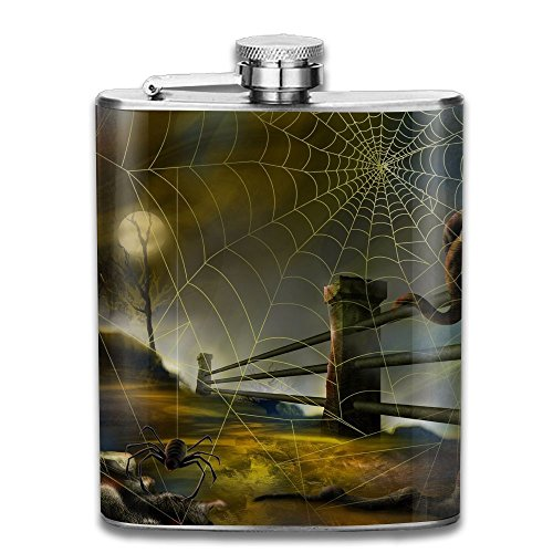 Hallowmas Halloween Stainless Steel Flagon Retro Rum Whiskey Alcohol Pocket Flask With Funnel (Parks And Recreation Halloween Gif)