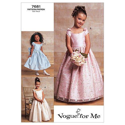 Vogue Patterns V7681 Girls' Lined Evening Or Lower Calf Length Dress, Size 6-7-8