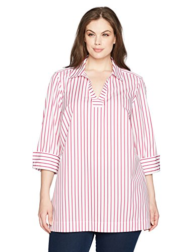 Foxcroft Women's Plus Size Nora Slim Stripe Non Iron Tunic, Summer Berry, 16W by Foxcroft