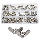 Wing Butterfly Nut Wingnuts Metric M3 M4 M5 M6 M8 M10 M12 Assortment Kit 90pcs,304Stainless Steel