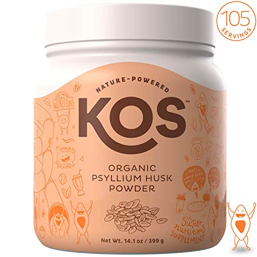 KOS Organic Psyllium Husk Powder – Everyday Fiber Support Psyllium Husk Powder – Finely Ground for Easy Mixing & Baking (Keto Bread) USDA Organic Plant Based Ingredient, 399g, 105 Servings