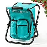 Mini Backpack Folding Chair w/ Cooler Bag & Storage Pockets - Convenient, Ultra Lightweight & Compact Outdoor Seat Perfect for Events, Picnics, Hiking, Camping, Tailgating, Parades & More