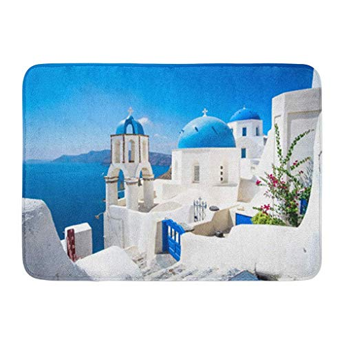 (YGUII Doormats Bath Rugs Outdoor/Indoor Door Mat Scenic View of Traditional Cycladic White Houses and Blue Domes in Oia Village Santorini Island Greece Bathroom Decor Rug Bath Mat 16X23.6in (40x60cm) )