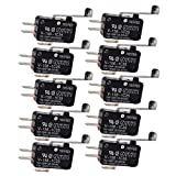Yowming 10Pcs V-156-1C25 15A Micro Limit Switch Push Button SPDT Momentary Snap Action Inching Switch Travel Switch