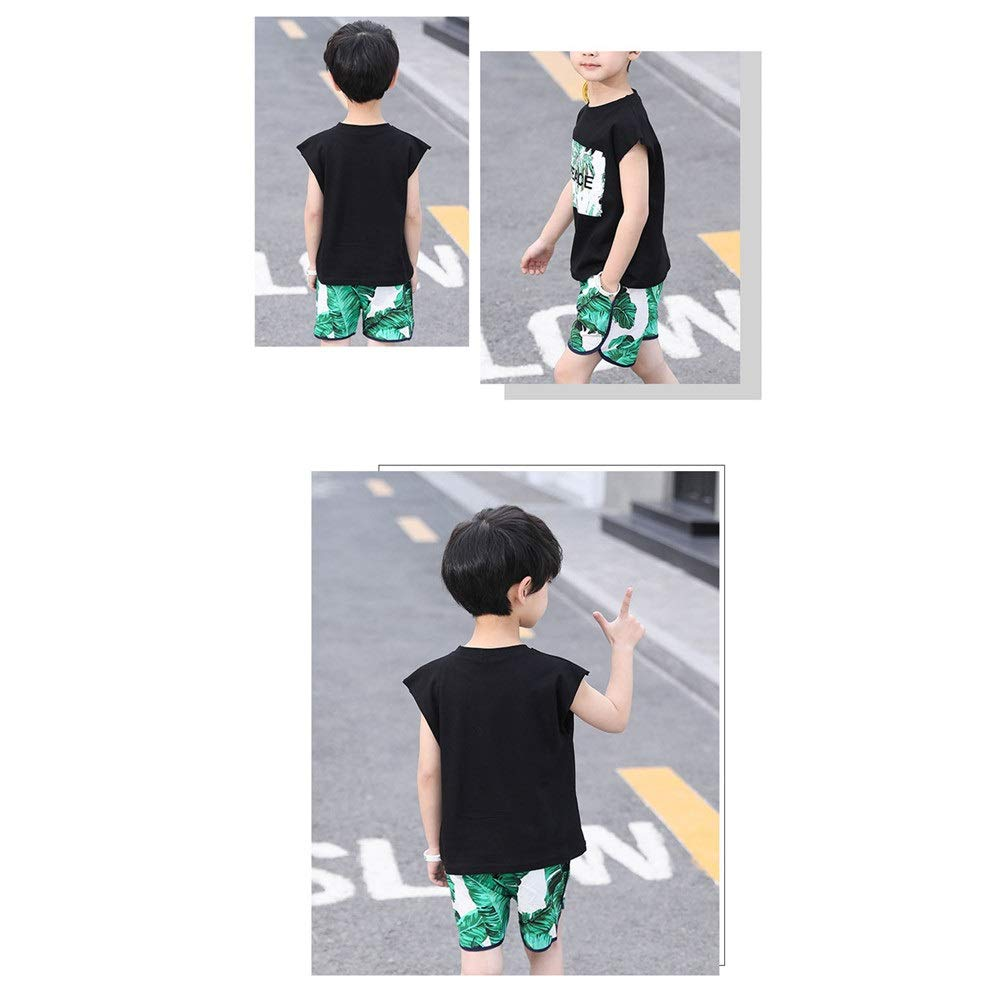 Summer Boys Short Sleeve Set Boys Clothes Short Sleeve T-Shirt Shorts Set With Letters Crew Neck Print Short Sleeve Tops And Green Banana Leaf Print Shorts White Black Outfits Set For Summer Sports L