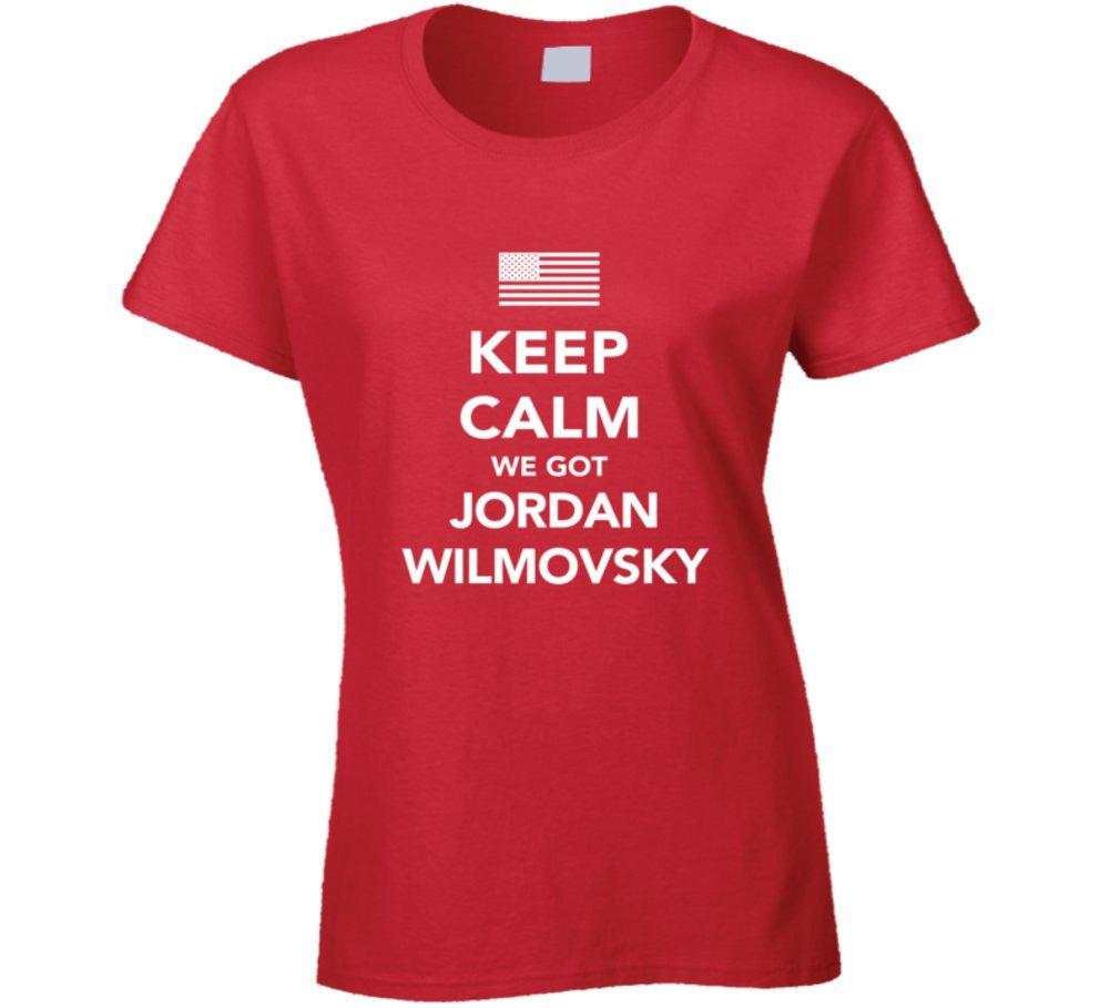 Jordan Wilmovsky Keep Calm USa 2016 Olympics Swimming Ladies T Shirt XL Red by Mad Bro Tees