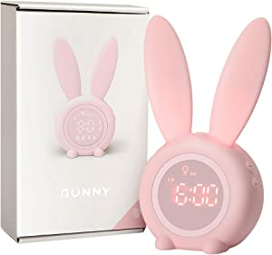 Kids Alarm Clock with Night Light for Toddlers, 5 Ringtones, Touch Control and Snoozing with 2000mAh Rechargeable Battery Children's Sleep Trainer for Boys Girls Bedroom by KKUYI