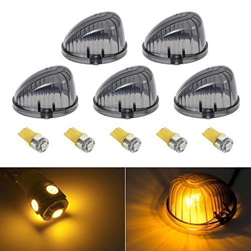 Partsam 5PC Round 9069A Cab Roof Top Light Smoke Cover+3020 W5W Amber LED bulb for 1973- 1987 Chevrolet/GMC C/K series Full Size PICKUP Trucks