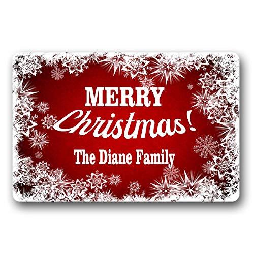(Bernie Gresham Christmas Doormat Family Name Personalized Custom Outdoor/Indoor Funny Doormat Floor Door Mat Non Slip Mats Bathroom Kitchen Decor Area Rug for Entrance 18 X 30 inch)
