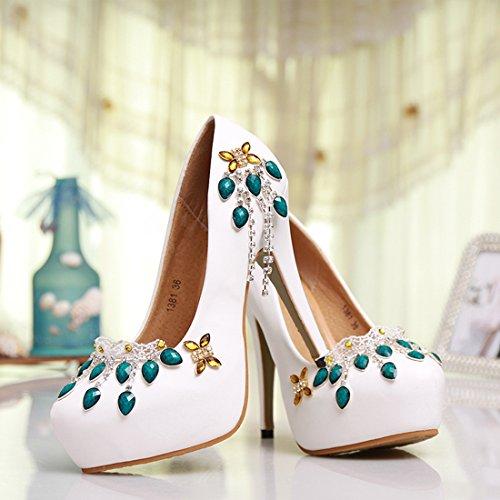 Prom Minitoo Weiß Hochzeit Sexy Satin Frauen MZLL028 Abend Handgemachte Schuhe Zehe Runde Pumps wrqzf7FwU