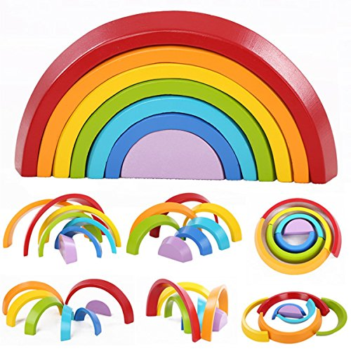 king do Way Wooden Rainbow Stacker Toys 7Pcs Nesting Stacking Game Educational Learning Toy Puzzle/Creative Colorful Building Blocks for Kids Baby (Grimms Extra Large 12 Piece Rainbow Stacker)