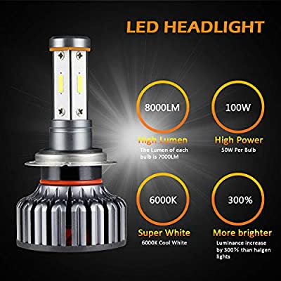 Ultra Bright LED Headlight Bulbs CSP Chips 100W 12000LM Headlight Conversion Kit- 6000K Cool White H7 Fog Lights Bulbs- 4 Side LED High Low Dual Beam Light All-in-One for Car Driving Lamps Replacement: Automotive