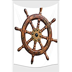 Nalahome-Ships Wheel Decor Collection Wooden and Brass Ship Steering Wheel Antique Aged Historic Natural Decoration Brown White Tapestry Wall Hanging Wall Tapestries 36L x 24W Inches