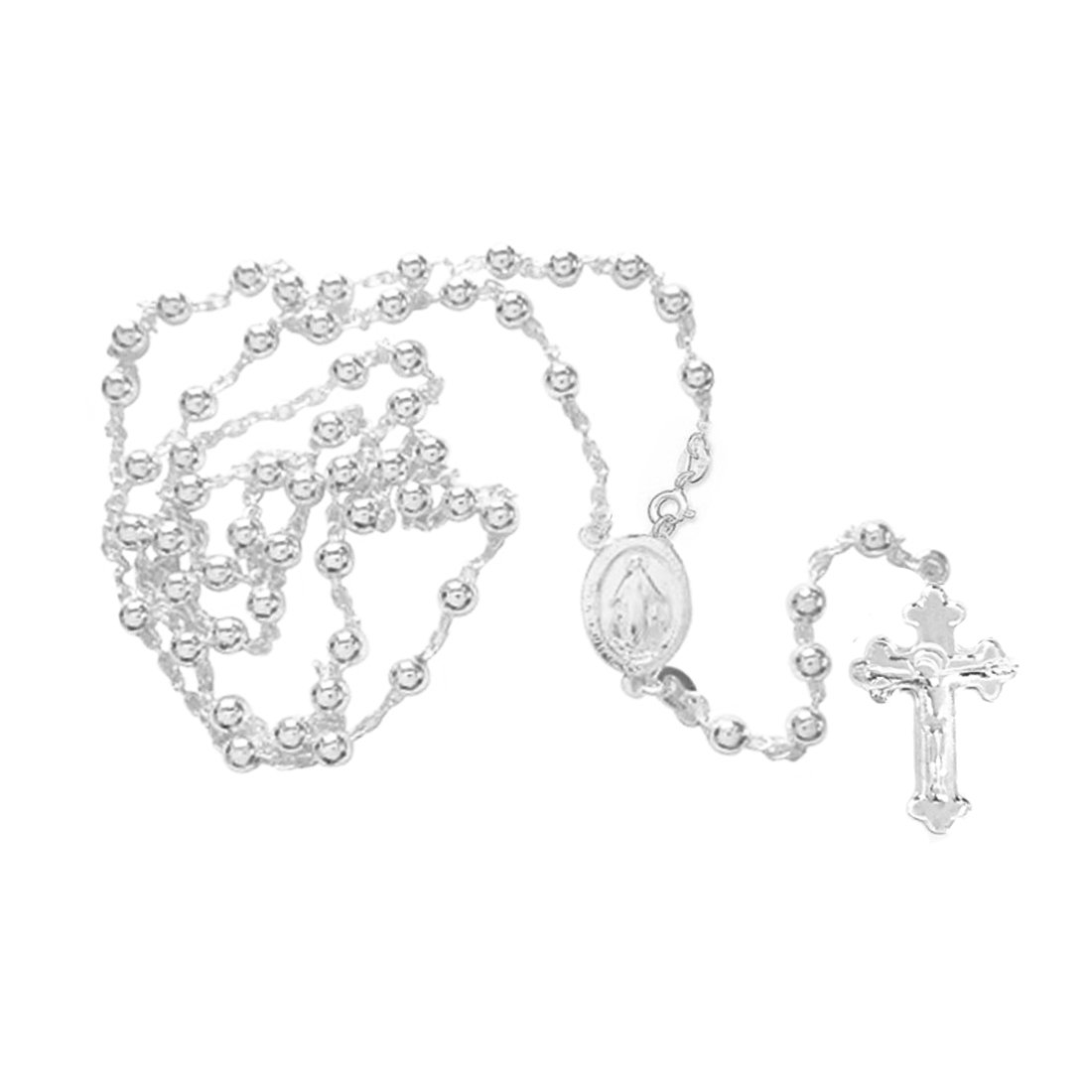 Ritastephens Sterling Silver or Gold-tone 3mm Rosary Bead Necklace Virgin Mary Cross Made in Italy