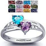 Promise Ring For Her Couples 2 Heart Birthstones 2 Names and 1 Engraving Customized and Personalized Size 7