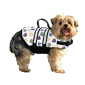 Paws Aboard N1200 Fido Pet Products Doggy Life Jacket, X-Small, Nautical Dog