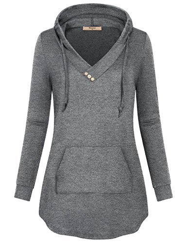Crossover Trim (Miusey Women Hoody Shirts,Juniors Crossover Top Sweaters with Button Trim Soft Surroundings Classic Knit Plain Semi-Thin Casual Business Wear for Fall Light Grey L)