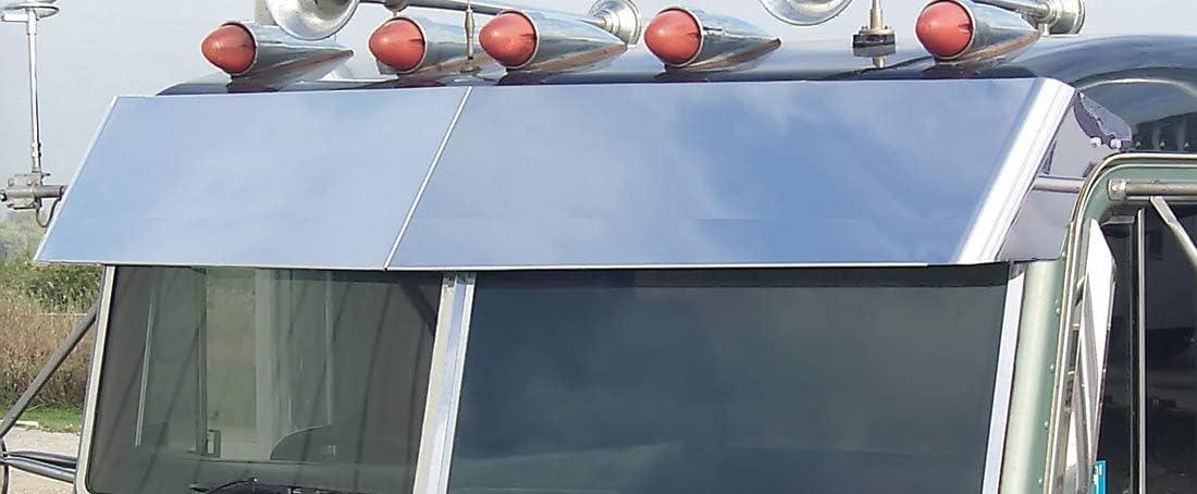 Roadworks Stainless Steel 13.5 Blind Mount Drop Visor for 1988-2005 Peterbilt Flat Top