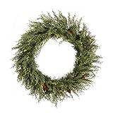 Vickerman E177824 24 in. Plastic Pine Cedar Green Wreath with Pinecone