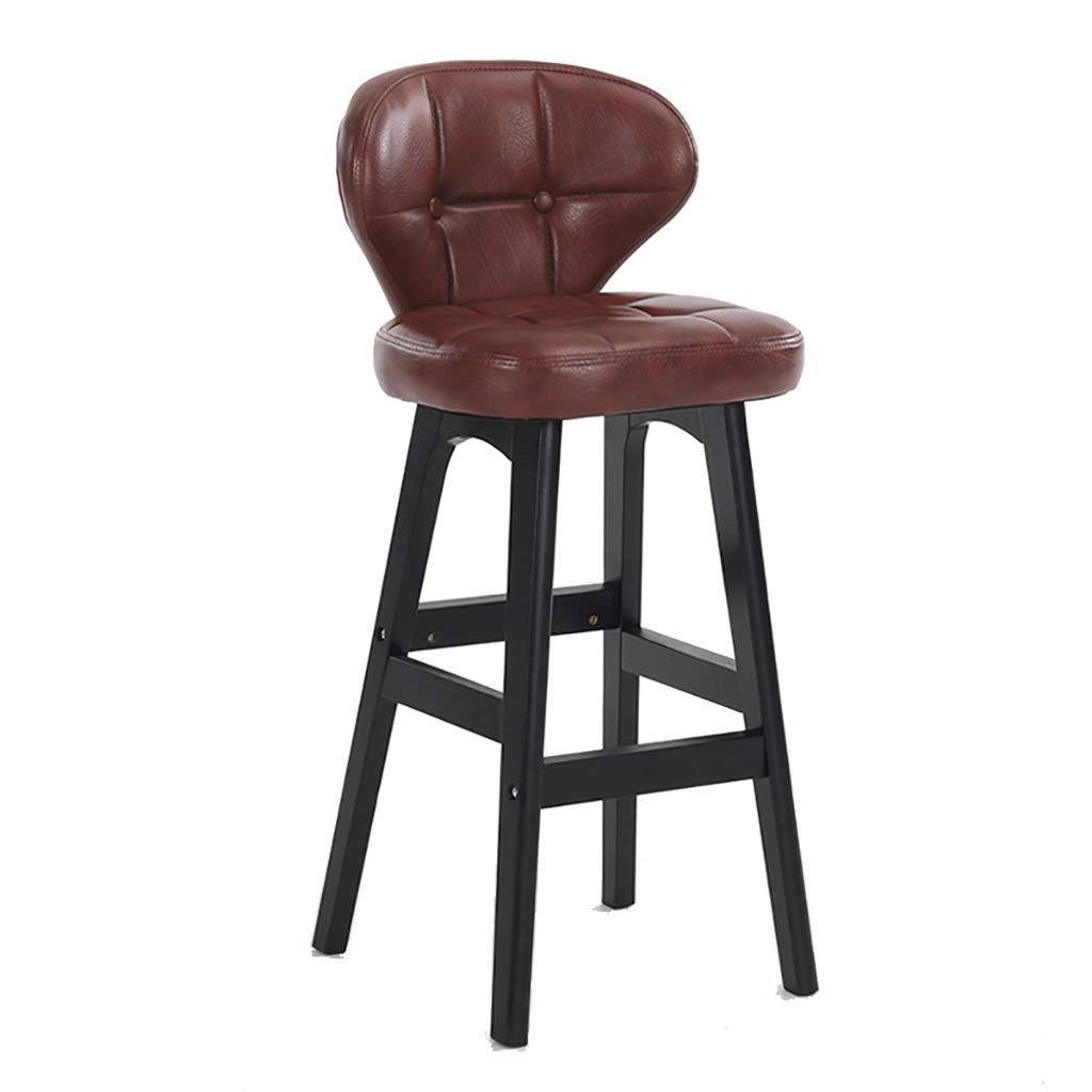 Amazon.com - Solid Wood Tall Bar Chairs with PU Seat Bar ...