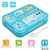 divided lunch container for kids - Leakproof Bento Lunch Box for Kids, FIOLOM 5 Compartments Divided Lunch Container Set with Spoon & Fork Cute Microwave Safe Meal Prep Box for Boys Girls Children School
