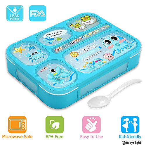 Boy Lunch - Leakproof Bento Lunch Box for Kids, FIOLOM 5 Compartments Divided Lunch Container Set with Spoon & Fork Cute Microwave Safe Meal Prep Box for Boys Girls Children School